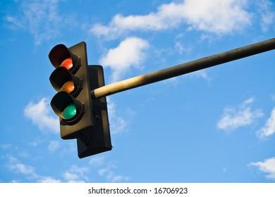 A set of UK traffic lights