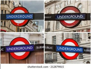 Set of underground station sign for the London