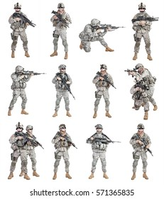 Set of united states paratroopers infantrymen isolated on white background