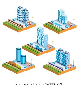Set of urban icons of isometric on the city