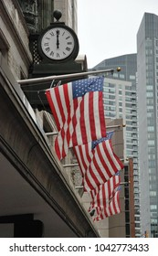 Set of USA flags hanging in Boston. 2010 June