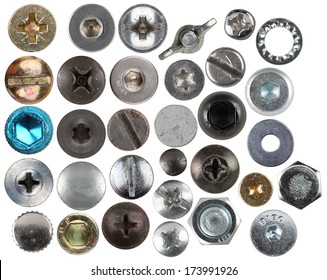 set of used old screw heads