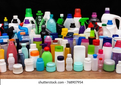 Set of usual plastic bottles from an average household - pollution at every level of our lives, concept