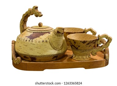Set of utensils for tea drinking from birch bark on white background isolated. Shadrinsk, Kurgan region, Russia