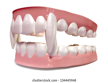 A set of vampire false teeth set in gums on an isolated background