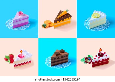 Set of varied pieces of cakes made of paper. Colorful collage of volumetric paper objects. Paper art and craft. Food art concept