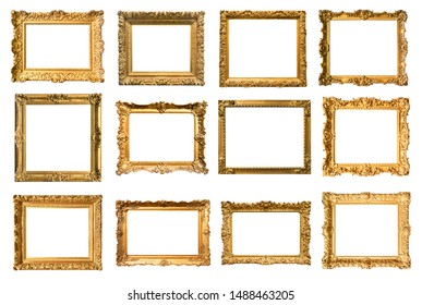 set of various ancient painting frames cut out on white background