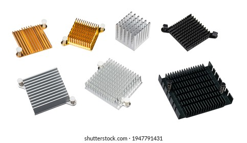 Set of various anodized aluminum coolers isolated on a white background. Alu heat sinks for cooling of electronic components as chipsets on computer motherboard or video cards. Overheating protection.