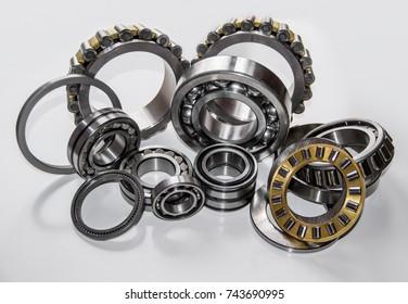 A set of various ball bearings and roller bearings