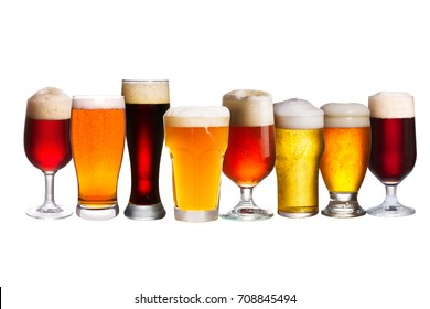 Set of various beer glasses. Different glasses of beer. Ale isolated on white background
