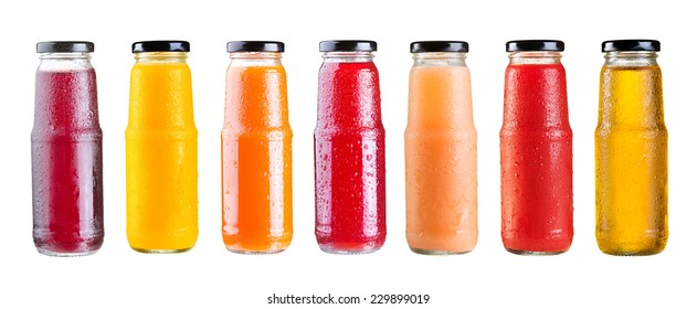 set of various bottles of juice isolated on white background