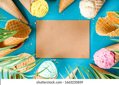 Set of various bright multicolored ice-cream in ice cream waffle cones - chocolate vanilla blueberry strawberry pistachio orange, on trendy turquoise background with summer tropical palm leaves