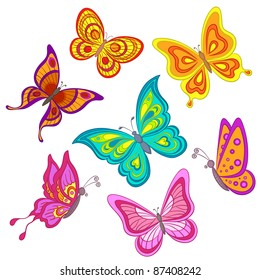 Set various color butterflies on a white background