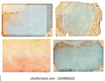Set of various colorful retro old photos isolated on white background