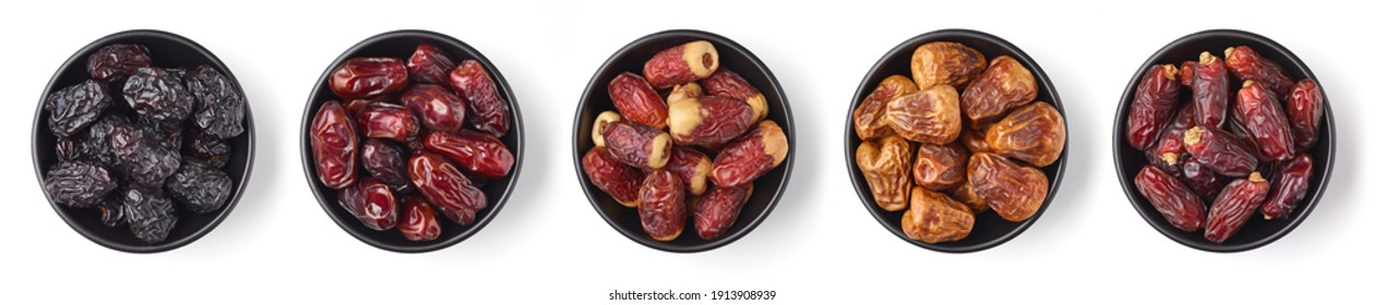 Set of various dates in bowl isolated on white background; top view