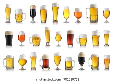 Set of various full beer glasses. Isolated on white background