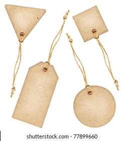 Set of various grungy aged paper tags with metal rivets and simple traditional strings, isolated on white background, highly detailed