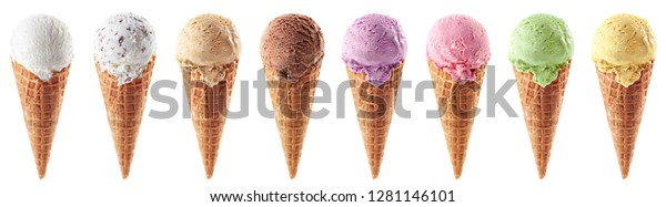 Set of various ice cream scoops in waffle cones isolated on white background