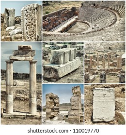 set of various images of the ancient city of Hiyeropolis, Pamukkale, Turkey