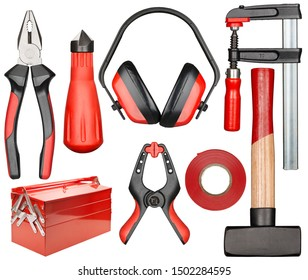 Set of various isolated hand tools for manual work. Red and black colors.
