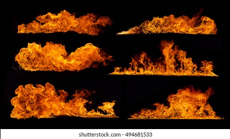 Set of various kind of flames, isolated on black background. high resolution