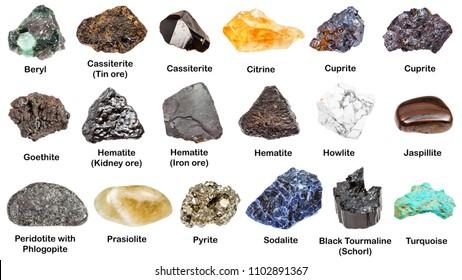 set of various minerals with names isolated on white: cassiterite, peridotite, jaspillite, prasiolite, turquoise, cuprite, beryl, howlite, citrine, goethite, schorl, pyrite, hematite, sodalite