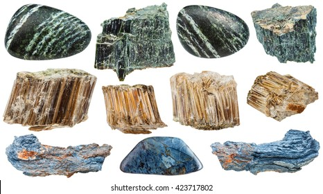 set of various natural mineral stones - Asbestos (chrysotile, amosite, rhodusite, green, white, brown, blue asbestos) isolated on white background