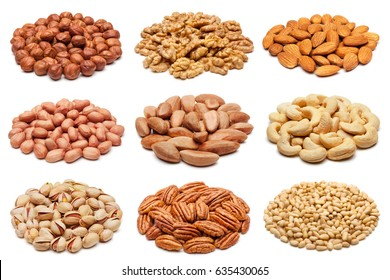 Set of various nuts isolated on the white background.