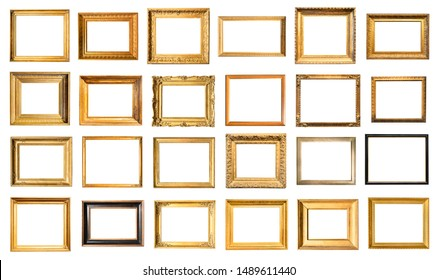 set of various old painting frames cut out on white background