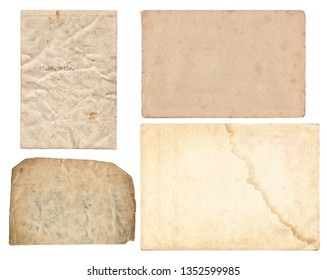 Set of various Old paper with scratches and stains texture isolated on white