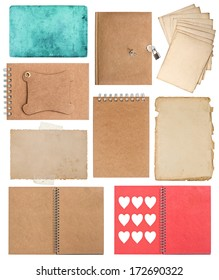 set of various old paper sheets and ring books. pages, cards, pieces isolated on white background