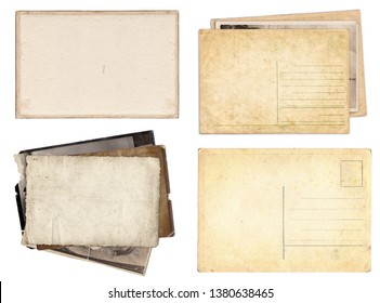 Set of various Old papers and postcards with scratches and stains texture isolated on white