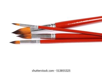 Set of various paintbrush isolated on white background