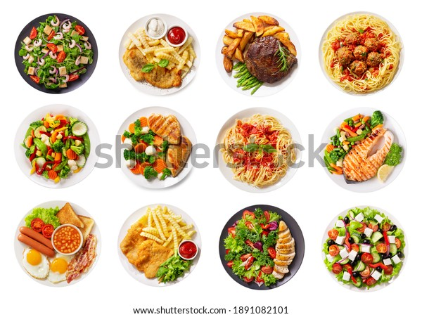 set of various plates of food isolated on a white background, top view