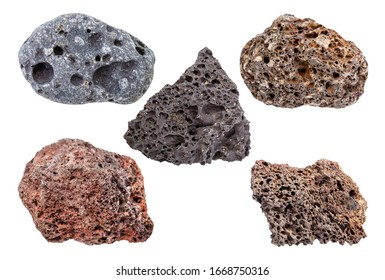 set of various Pumice rocks isolated on white background