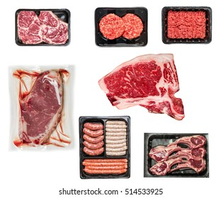 set of various raw meat in a plastic tray isolated on white background