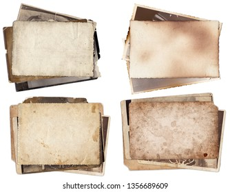Set of various retro old photos isolated on white background