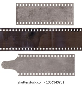 Set of various strip old film with dust and scratches isolated on white