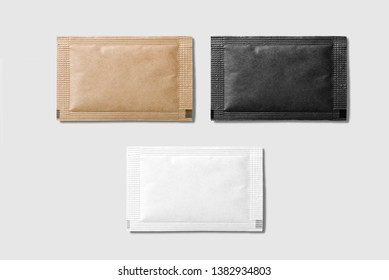 Set of various sugar packet isolated on light grey background - High resolution.