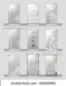 Set of various types of contemporary glass doors. Flat design. Pockmarked background. Clean  sc 1 st  Shutterstock & Different Types Doors Images Stock Photos u0026 Vectors | Shutterstock