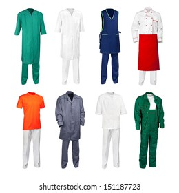The set of various work clothes - chef cook, builder, physician, scientist, nurse, office cleaner and other workers - isolated over white background.