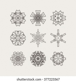 Set of vector mandala symbols. Gothic lace tattoo. Celtic weave with sharp corners. The circular pattern.
