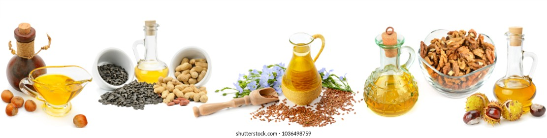 Set of vegetable oils, nuts and seeds isolated on white background. Panoramic collage. Wide photo with free space for text.