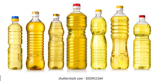 set of vegetable or sunflower oil in plastic bottle isolated on white background