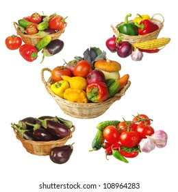 Set of vegetables in the basket. White background