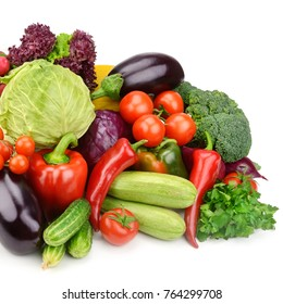 set vegetables isolated on white background