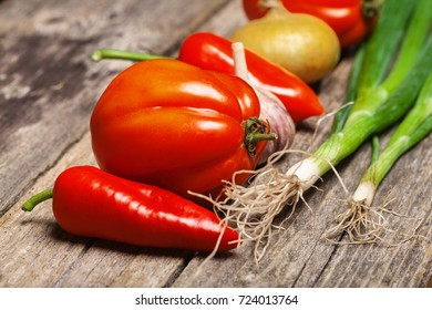 Set of vegetables on the vintage wooden table