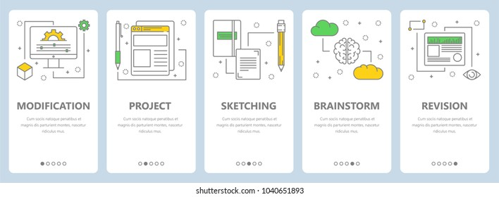 Set of vertical banners with Modification, Project, Sketching, Brainstorm and Revision concept web templates. Modern thin line art style design elements, symbols, icons for website menu, print.