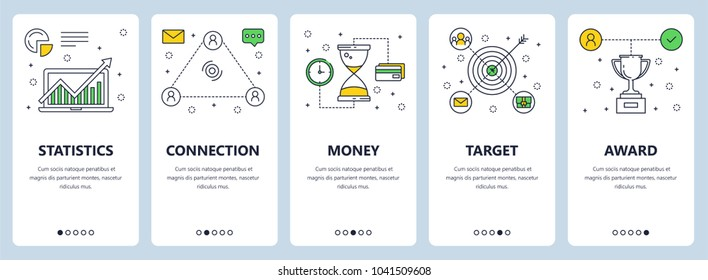 Set of vertical banners with Statistics, Connection, Money, Target, Award concept website templates. Modern thin line flat style design elements for web, print.