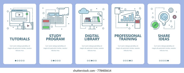 Set of vertical banners with Tutorials, Study program, Digital library, Professional training, Share ideas concept web elements. Modern thin line flat symbols, icons for website menu, print.